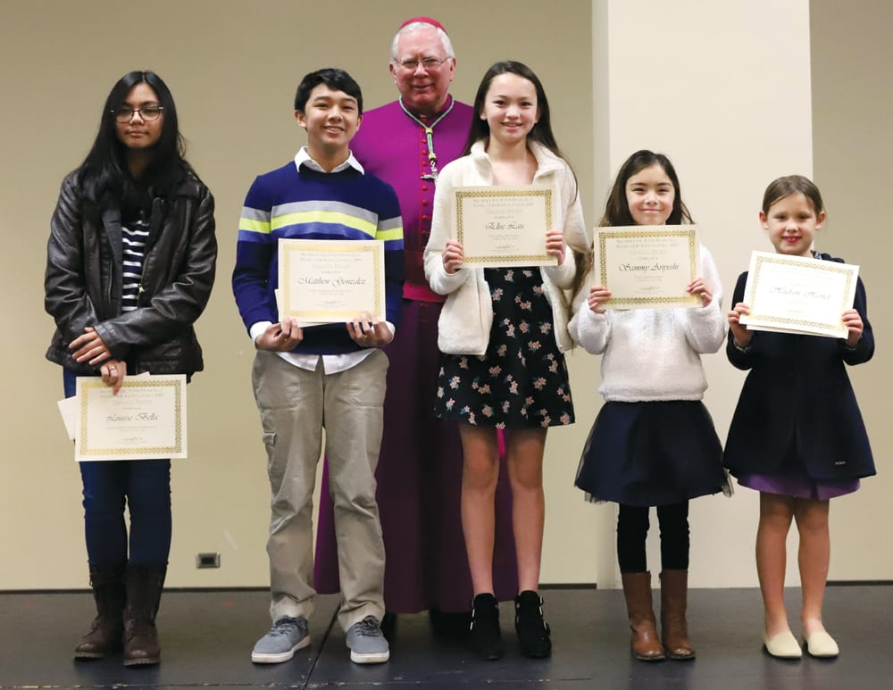 respect life essay contest entries highlight humanity of the unborn  grand prize winners in the archdioceses th annual respect life essay  contest gathered with auxiliary bishop robert f christian op for a  celebratory